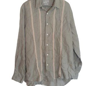 Lucky Brand linen olive green button up large